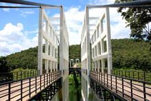 Suspension Bridge At Mae Kuang Udom Thara Dam.