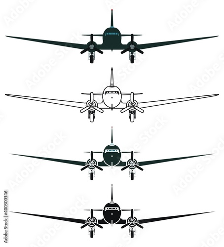C47 Skytrain airplane, Front view Wallpaper Mural