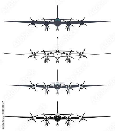 Canvas Print B29 superfortress airplane, front view.