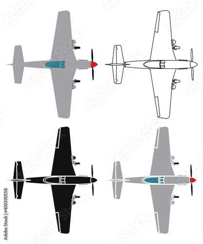 фотография P51 Mustang in top view.