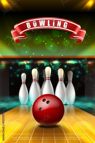 3d realistic vector  banner of bowling game with red ball  on the lane and white skittles in neon smoke Fototapeta