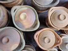 Top View Of Earthenware Pot For Cooking In The Shop At The Market