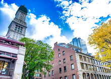 Boston Buildings From Faneuil Hall On A Beautiful Day, USA