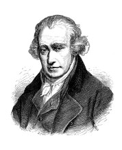 Engraving Portrait Of James Watt (1736–1819)  Scottish Inventor, Mechanical Engineer And Chemist, Famous For His Steam Engine Of Improved Power And Efficiency