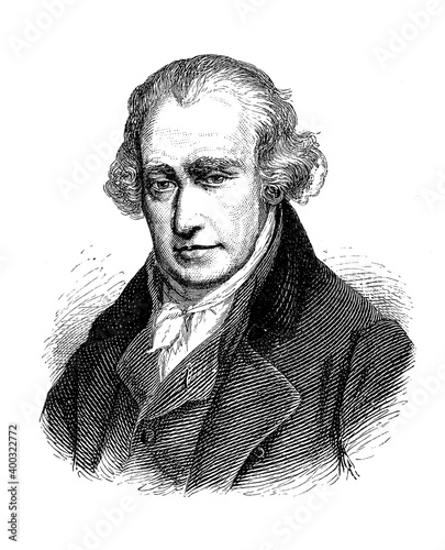 Obraz na płótnie Engraving portrait of James Watt (1736–1819)  Scottish inventor, mechanical engi