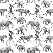 Beautiful Vector Stock Seamless Pattern With Cute Hand Drawn Safari Giraffe Elephant Tiger Monkey Rhinoanimal Pencil Illustrations.