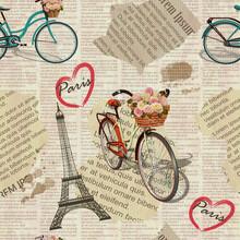 Seamless Paris Vintage Newspaper Background.
