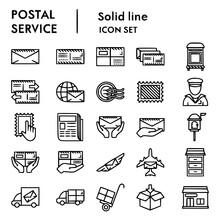 Postal Service Line Icon Set Postage Mail Vector Set, Icon, Postal, Service, Postage, Line, Mail, Sign, White, Symbol, Web, Eps