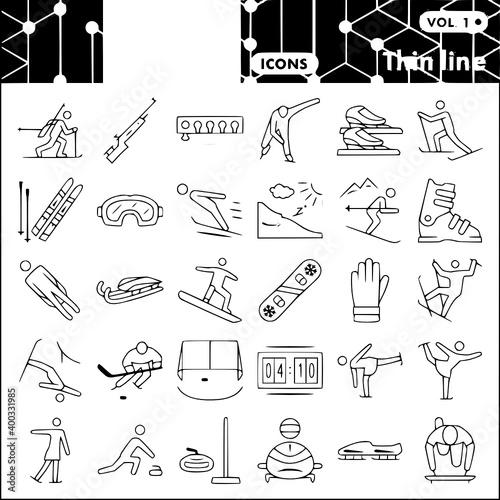 Billede på lærred winter sport thin line icon set tools winter vector Set, Icon, Winter, Sport, Th