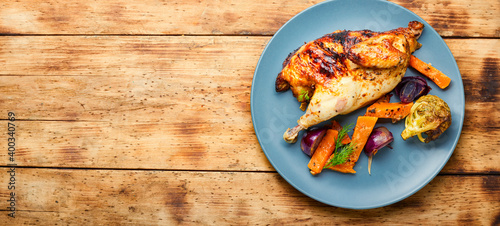 Fototapeta Roasted partridge with pumpkin obraz