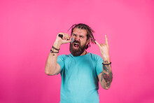 Singer. Sing A Song. Bearded Man Sing In Microphone. Microphone. Karaoke. Man Singing With Microphone. Rock.
