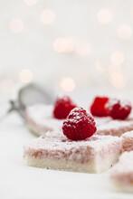 Mascarpone-cocos Sweets With Fresh Raspberries