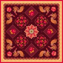 Bandana Print With Paisley, Mandala, Roses, Fabulous Birds And Decorative Border On Brown Background.  Napkin, Doily, Cushion.