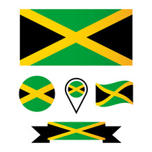 Vector Flag Of Jamaica. Collection Of Flags