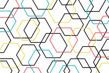 Abstract Background Pattern Made With Colorful Hexagon Shapes. Modern, Playful, Fun Vector Art In Red, Yellow, Blue And Black Colors.