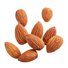 Almond Raw Piece Fly Almond Full Macro Shoot Nuts Healthy Food Ingredient On White Isolated .Clipping Path
