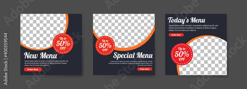 Tableau sur Toile Social media post templates for digital marketing and food sales promotion