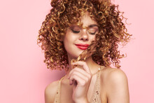 Woman Closed Eyes Makeup Model Fashion Clothes Pink Background