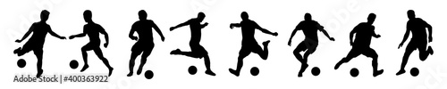 Papel de parede Silhouettes Soccer Players in Various poses stock illustration