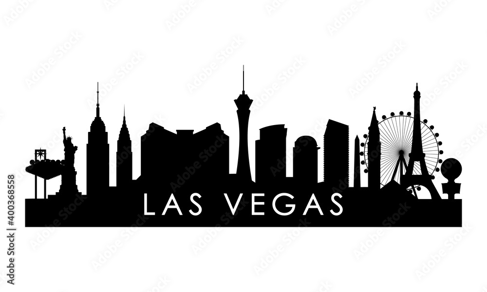 Fototapeta Las Vegas skyline silhouette. Black Las Vegas city design isolated on white background.