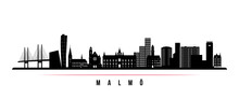 Malmö Skyline Horizontal Banner. Black And White Silhouette Of Malmö City, Sweden. Vector Template For Your Design.