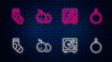Set Line Tangerine, Vinyl Player With Vinyl Disk, Christmas Stocking And Ball. Glowing Neon Icon On Brick Wall. Vector.
