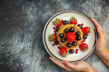 Top View Yummy Pancakes With Fresh Fruits On Light Background Fruit Cake Sweet