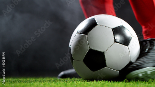Fototapety, obrazy: Detail of soccer boot with ball, goal success concept.