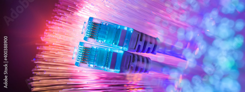 Photo network cables with fiber optical background