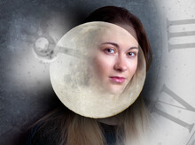 Woman's Face, Time And Full Moon