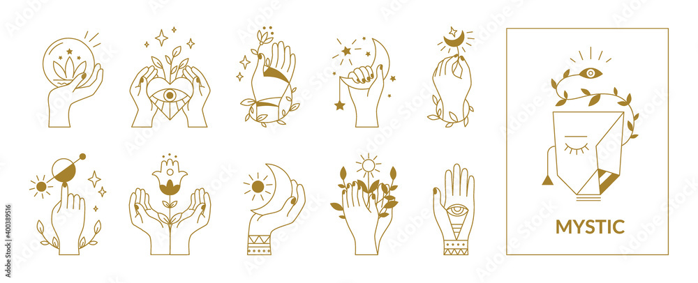 Fototapeta Hands mystical symbols. Boho occult outline signs with floral and astrological decorative elements. Female arms, crescent or sun, eyes and plants. Esoteric contour emblems, vector set