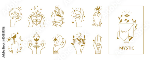 Fototapeta Hands mystical symbols. Boho occult outline signs with floral and astrological decorative elements. Female arms, crescent or sun, eyes and plants. Esoteric contour emblems, vector set obraz