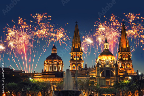 Guadalajara Cathedral (Mexico) with fireworks