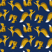 Seamless Pattern With Little Cute Squirrels. Winter Background Design For Christmas, New Year, Festive Products. Best For Wrapping Paper, Fabric, Wall Paper, Childrens Room Or Clothing