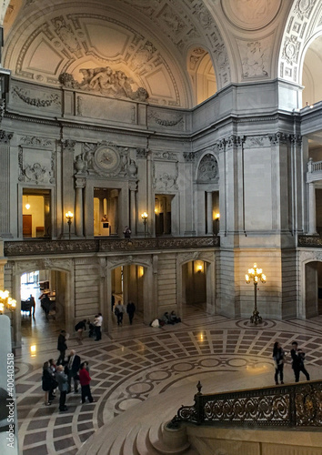 Stampa su Tela Breathtaking architecture and baroque stucco interiors inside San Francisco City