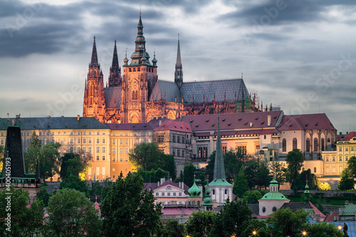 Canvas Print Hradschin in Prag am Abend