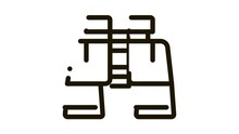 Binoculars Icon Animation. Black Binoculars Animated Icon On White Background