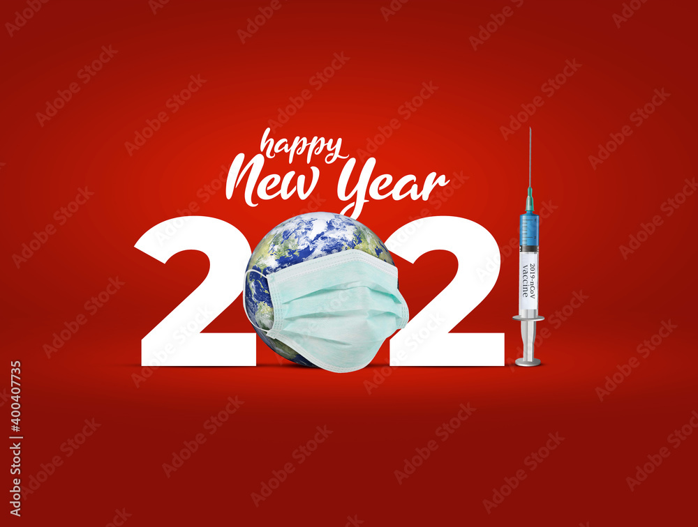 Fototapeta 2021 new year. Vaccine for COVID-19 in 2021 is closer to reality. COVID-19 Vaccine. vaccine against coronavirus disease 2019 will be available on 2021. 2021-new year with corona virus vaccine concept.