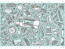 Doodle Food Truck Icons. Hand Drawing. Food Truck