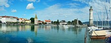Germany-panoramic View Of The Embankment And Port Of Lindau At Lake Constance