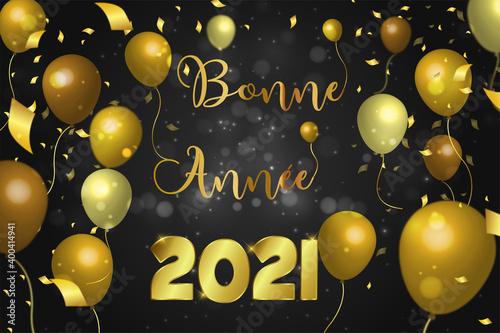 Leinwand Poster carte ou bandeau sur Bonne année 2021 en or sur un fond noir avec des ronds effe