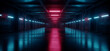 Cyber Neon Purple Blue Red Sci Fi Futuristic Grunge Hangar Retro Warehouse Underground Parking Steel Concrete Cement Tunnel Corridor Industrial Background 3D Rendering