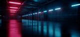 Fototapeta Do przedpokoju - Cyber Neon Purple Blue Red Sci Fi Futuristic Grunge Hangar Retro Warehouse Underground Parking Steel Concrete Cement Tunnel Corridor Industrial Background 3D Rendering