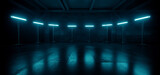 Fototapeta Perspektywa 3d - Sci Fi Industrial Cyber Futuristic Stage Blue Neon Led Lights Glowing Showcase Empty Background Realistic Cement Grunge Concrete Tunnel Corridor Hangar Dark 3D Rendering