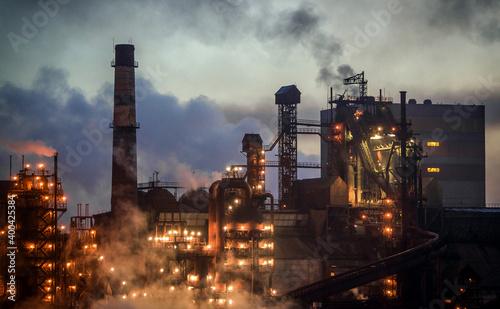Fototapeta Metallurgical plant at night obraz