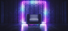 Sci Fi Neon Futuristic Club Seat Chair Lounge Room Glowing Rectangle Frame Blue Purple Gradient Vibrant Synth Wave Cyber Interior Stage Concrete Wood Materials 3D Rendering