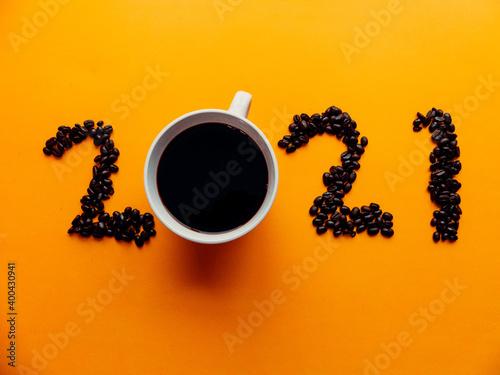 Fototapeta Coffee 2021 - New Year Sign - Coffee Lovers - Cup of Coffee obraz