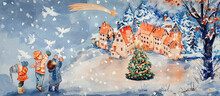 Peace On Earth. Watercolor Background. Greeting Card. Design Element