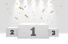 Realistic Winners Podium On A Transparent Background With Beautiful Lights And Candy. Vector Graphics.