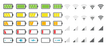 Battery Icons. Phone Charge Level. Vector Set From Low To Full Charging